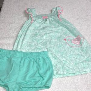 Teal cotton dress and diaper cover.
